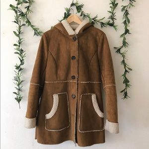 H&M Faux Shearling Coat Brown And White